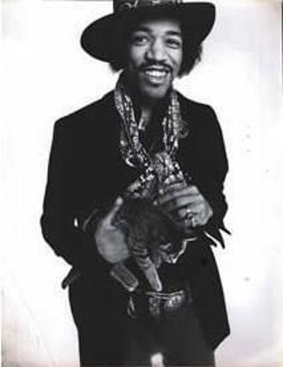 a gratuitous picture of Jimi Henrix with a kitten