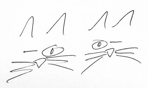 hand sketch of two cats